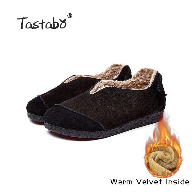 3f8f8fe8c9 Tastabo Genuine Leather Flat Shoe winter woolen inside warm Women Shoe  Female Moccasins Fashion Women Flats real fur Shoes Outfit Accessories From  Touchy ...