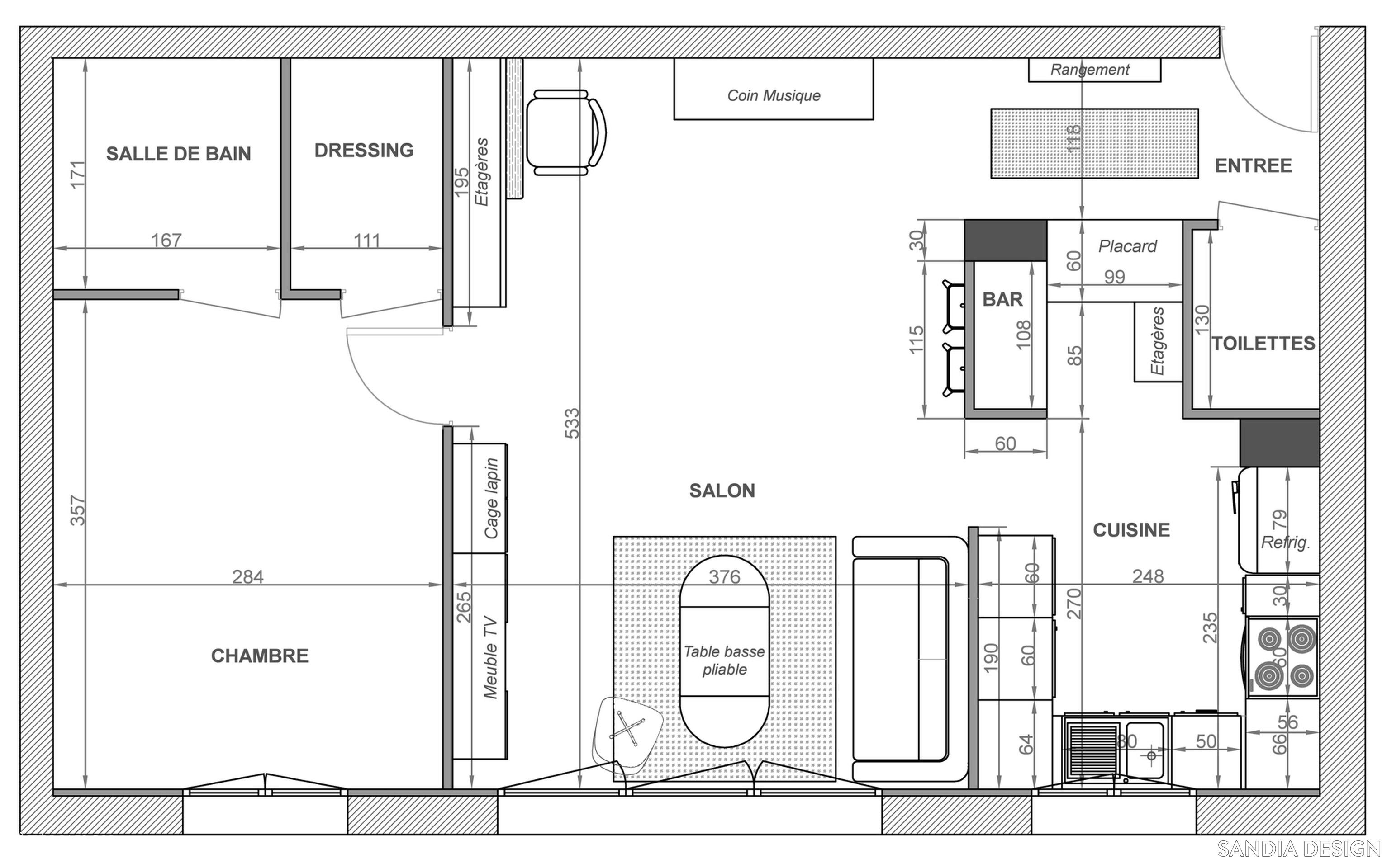 Plan r agencement appartement plans pinterest - Plan maison avec appartement ...