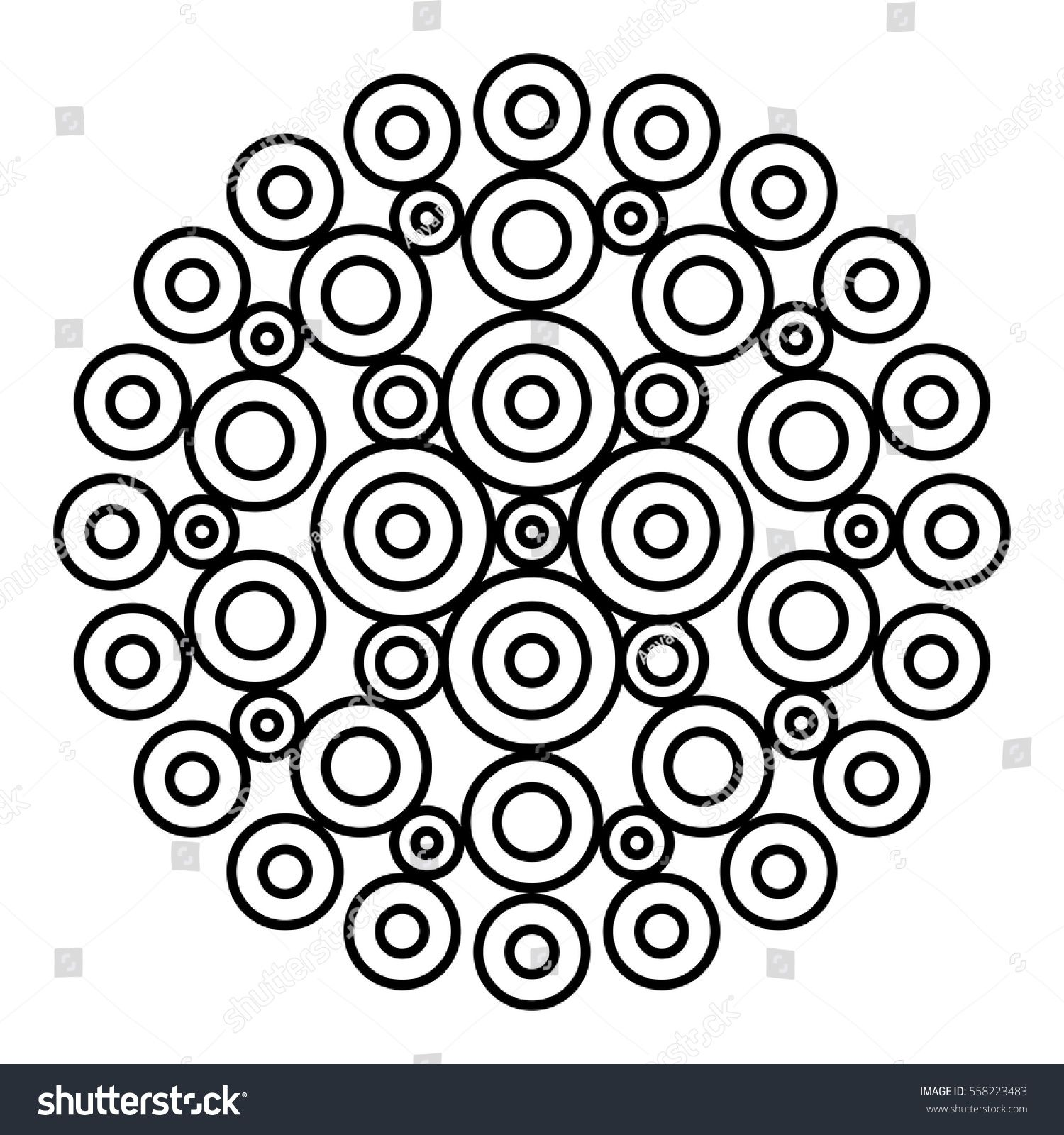 Easy Black And White Mandala For Coloring Book Pages Concentric