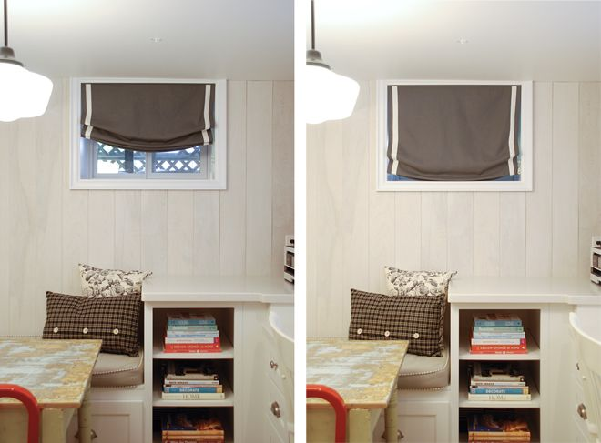 Hand Roman Shades Flush With Frame Rather Than Next To Window Basement Window Coverings Basement Window Curtains Basement Window Treatments