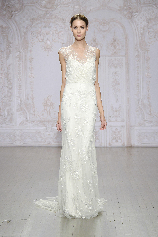51712dd6a90 Monique Lhuillier - Silk white embroidered tulle draped blouson sheath