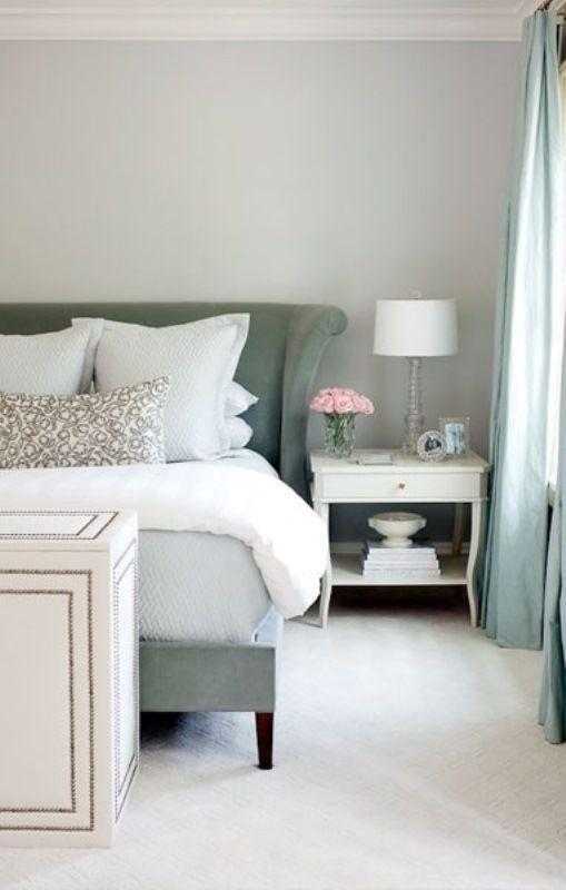 grey, green, pink accents, long drapes Decoració Pinterest
