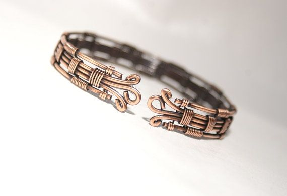 Wire Wrapped Copper Bracelet Womens Copper Wire by BeyhanAkman
