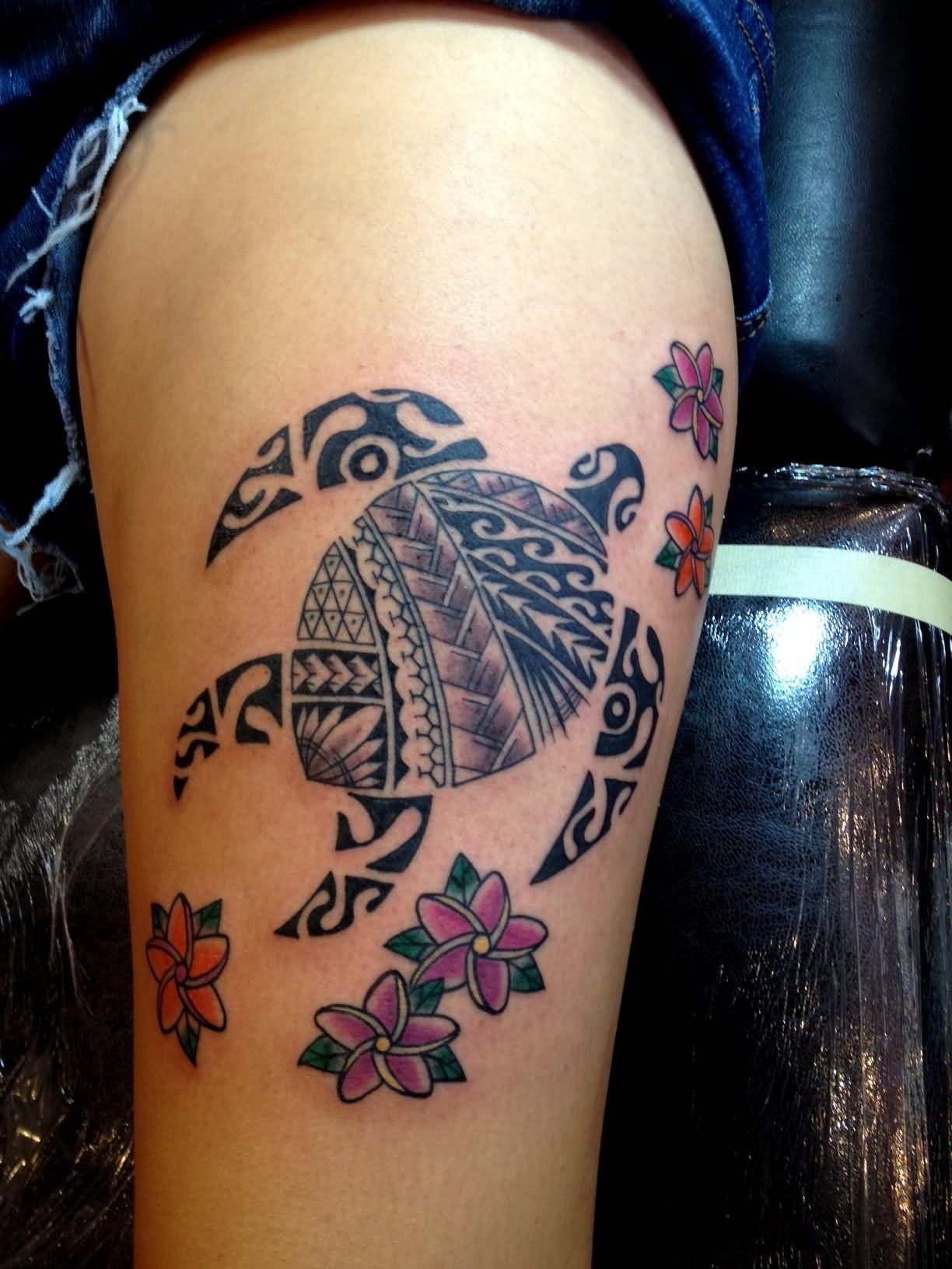 Flowers And Hawaiian Turtle Tattoo Tatoos Pinterest Hawaiian