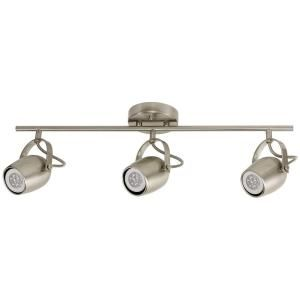 Globe Electric Samara Collection 3 Light Brushed Nickel Track Lighting With Dimmable 50 Watt Led Gu10 Bulb Included