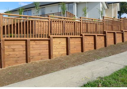 retaining wall fence on top retaining wall design hamilton timber retaining walls waikato - Timber Retaining Wall Design