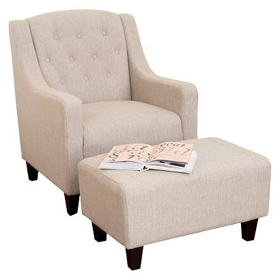 Elaine Tufted Fabric Club Chair And Ottoman Beige Christopher Knight Home Chair And Ottoman Set Chair And Ottoman Living Room Chairs