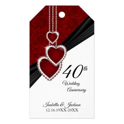 40th Ruby Wedding Anniversary Gift Tags - thank you gifts ideas diy thankyou