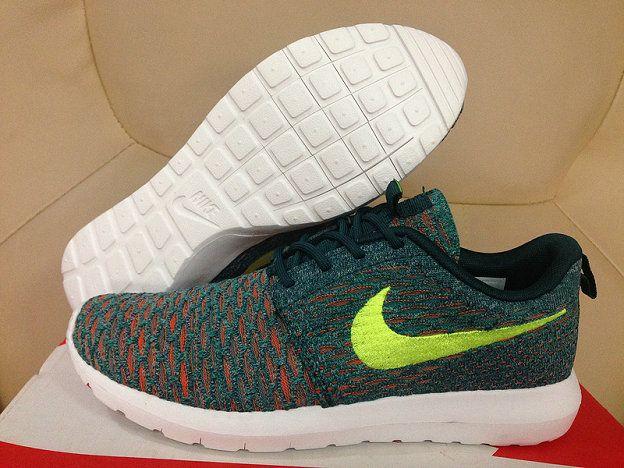 best sneakers 4ce05 2e731 Nike Flyknit Roshe Run Mineral Teal Volt Dark Atomic Teal 677243 300