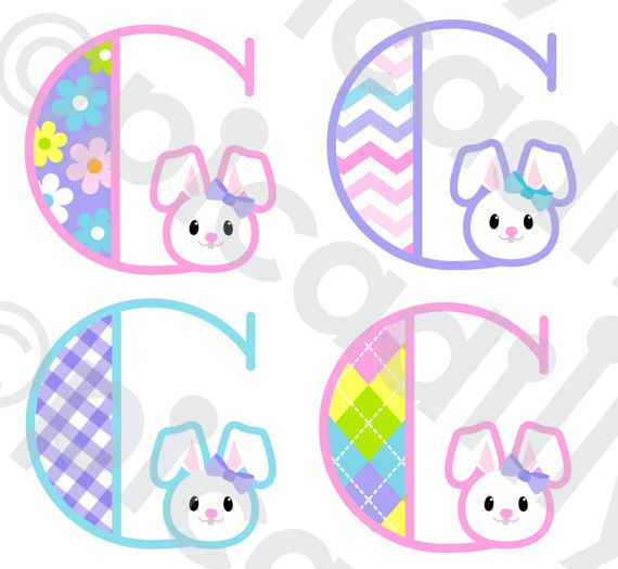 Easter Font Svg Dxf Png Easter Bunny Monogram Svg Cut File Letter