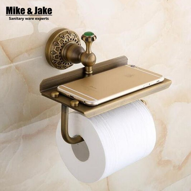 Antique Brass Bathroom Paper Phone Holder With Shelf Bathroom Mobile Phones Towel Rack Toilet Paper Toilet Paper Holder Wall Mounted Toilet Toilet Roll Holder