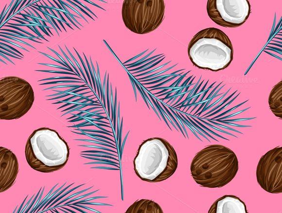 Pattern With Coconuts Fondos De Pantalla Verde Fondos De Colores