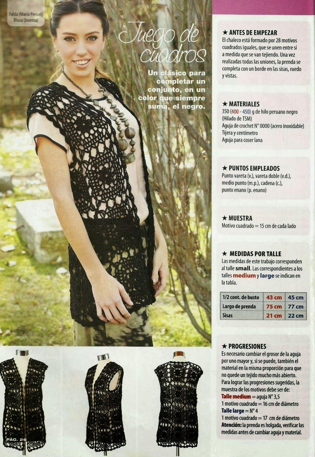 Chaleco Cuadrados de Crochet Patron - Patrones Crochet | SACOS ...