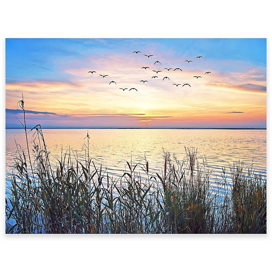Lake Sunset Outdoor All Weather Canvas Wall Art Bed Bath Beyond Lake Sunset Outdoor Canvas Outdoor Wall Art