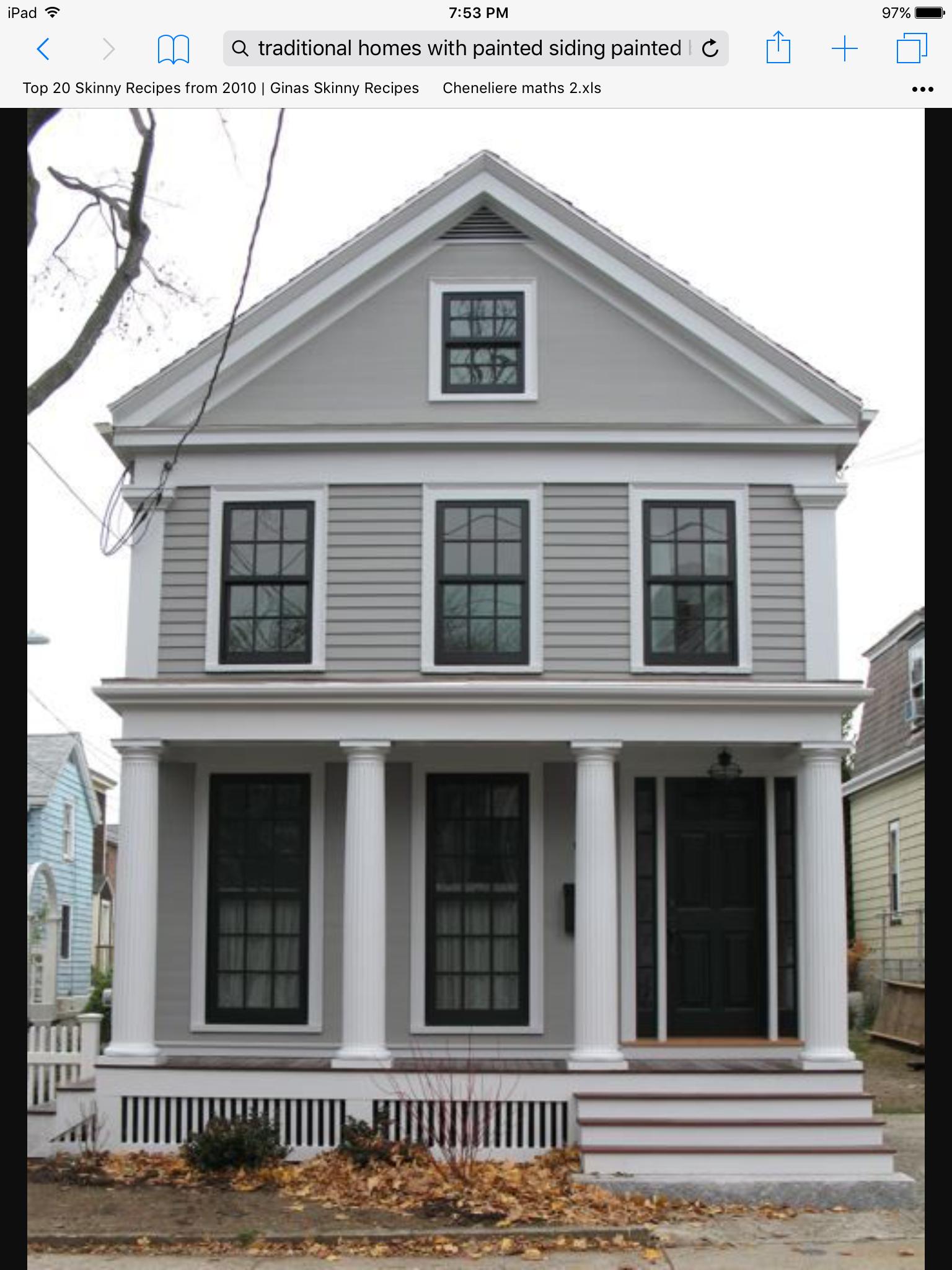 Grey Siding White Trim Black Door And Window Panes House Paint Exterior Exterior Paint Colors For House Exterior House Colors
