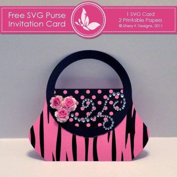 Free SVG Purse Invitation Card