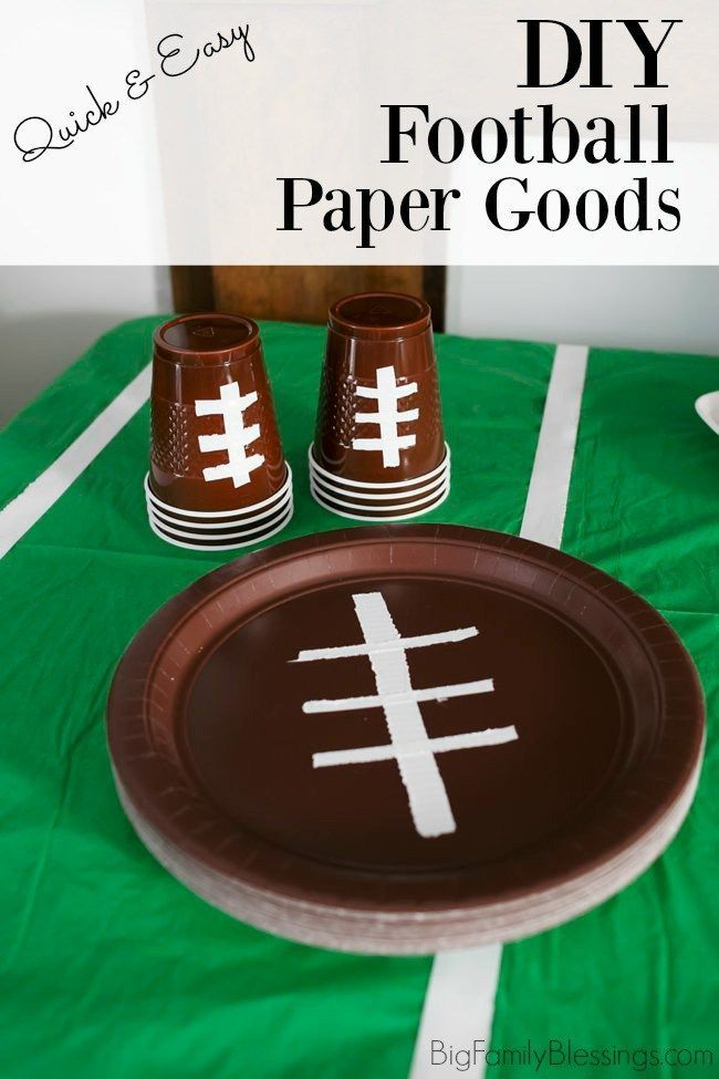 DIY Football Paper Goods for Easy Game Day Table Decor #footballpartyfood