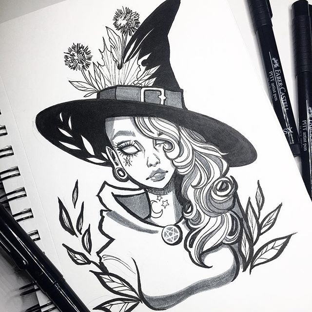 Spooky Witch Art Witch Art Drawings