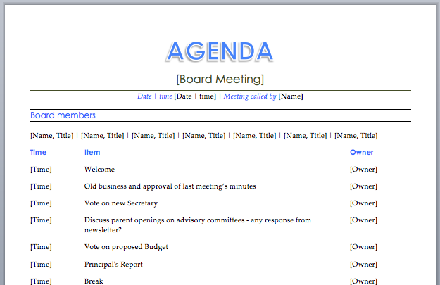 board meeting agenda meeting agenda templates