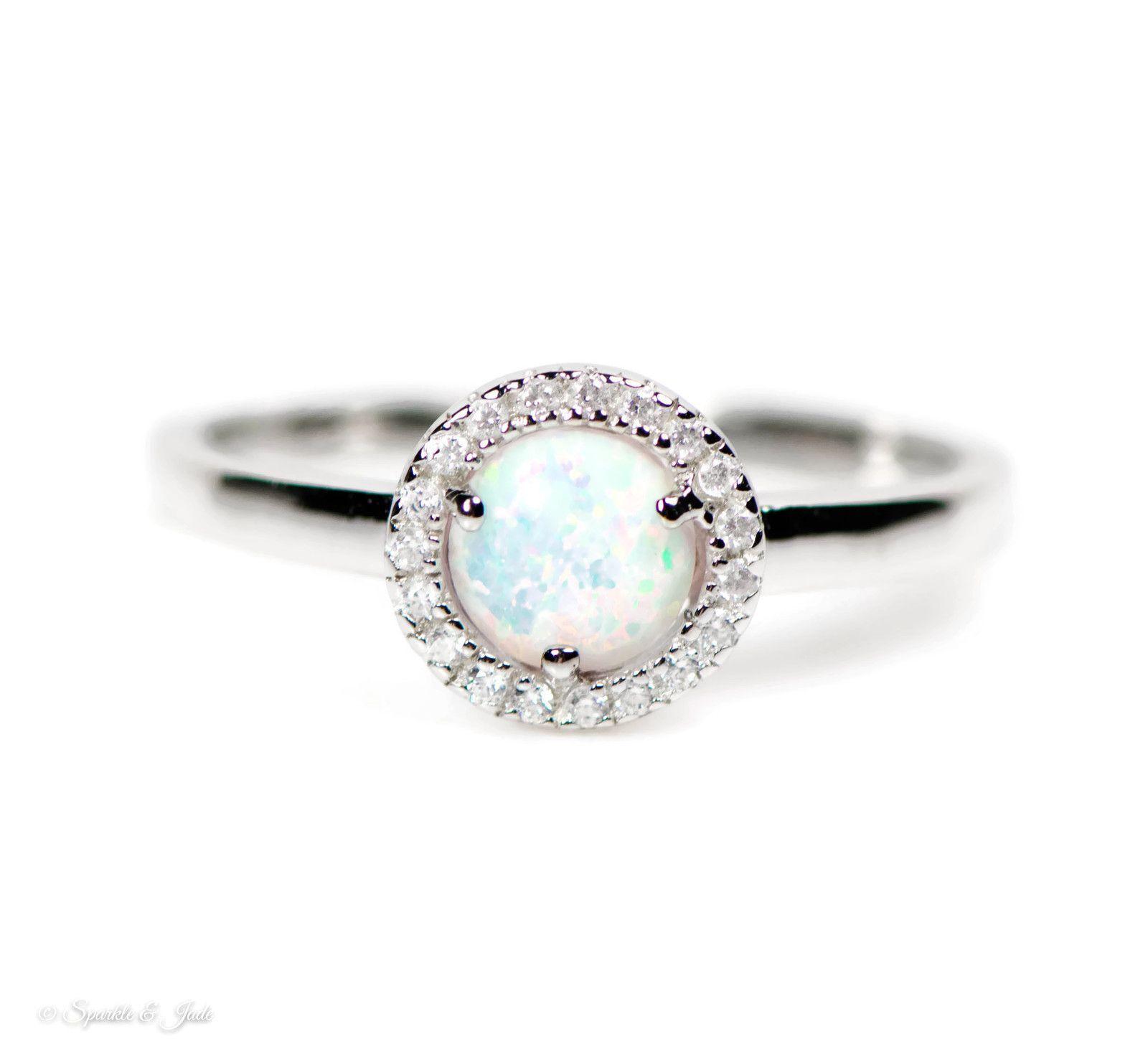 Sterling Silver White Opal Crown CZ Ring Size 6-9