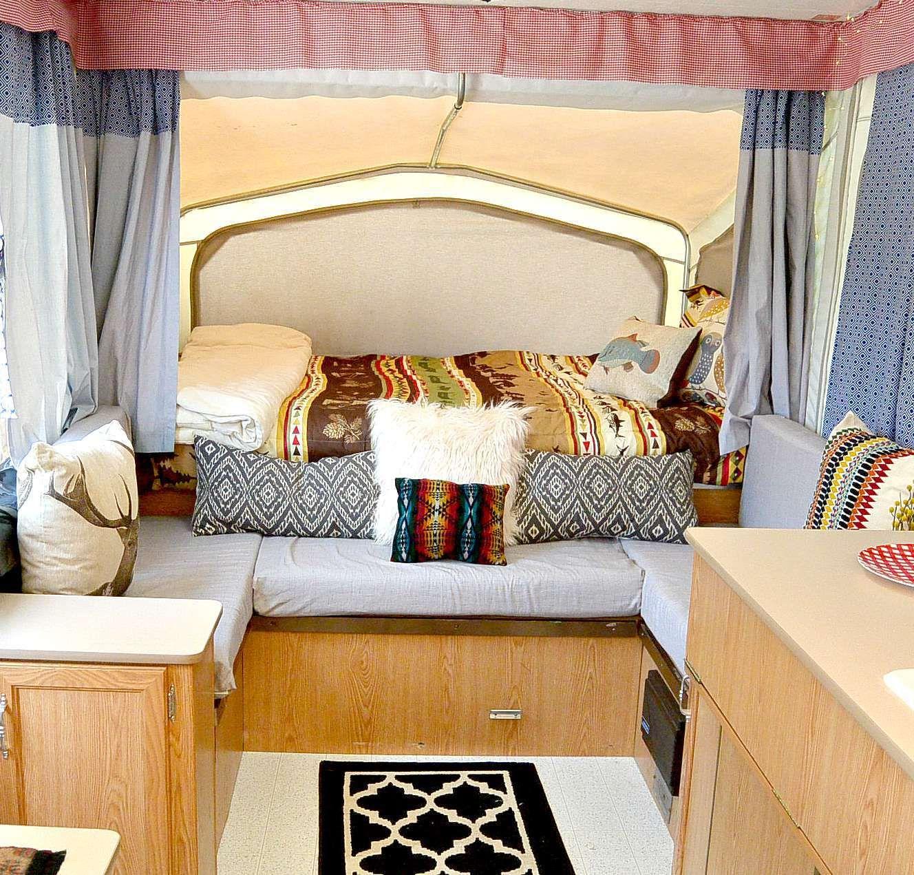 Popup Camper Remodel Campers Pinterest Oak Cabinets