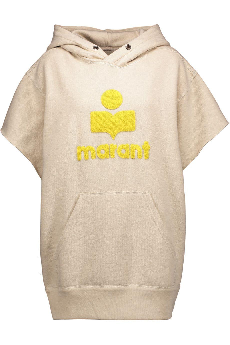 ETOILE ISABEL MARANT Carlo Terry-Embroidered Cotton-Blend Hooded Sweatshirt. #etoileisabelmarant #cloth #sweatshirt