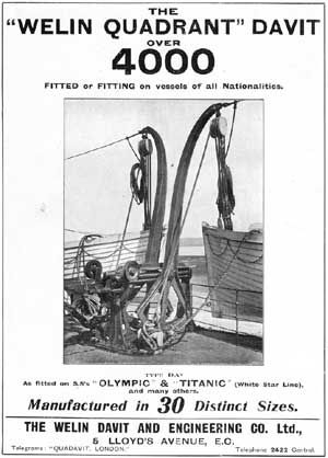 Carlisle's design for lifeboat handling equipment onboard the 'Olympic' class liners was manufactured by the Welin Davit & Engineering Co Lt...