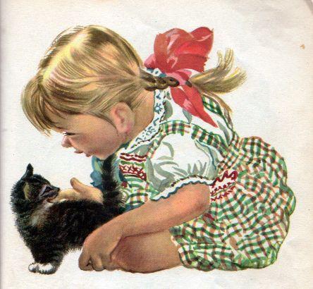 Feodor Rojankovsky 1951 Kitten Girl Art Cats Illustration Vintage Art
