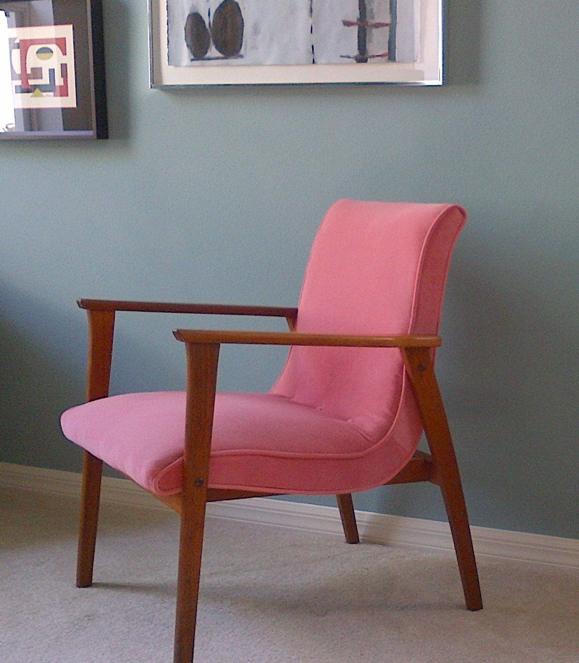 Superb Free Shipping Mid Century Danish Modern Chair In Pink Dailytribune Chair Design For Home Dailytribuneorg