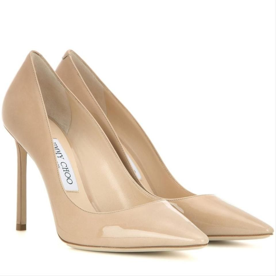 Jimmy Choo Nude Romy 100 Patent Leather Pointed Womens