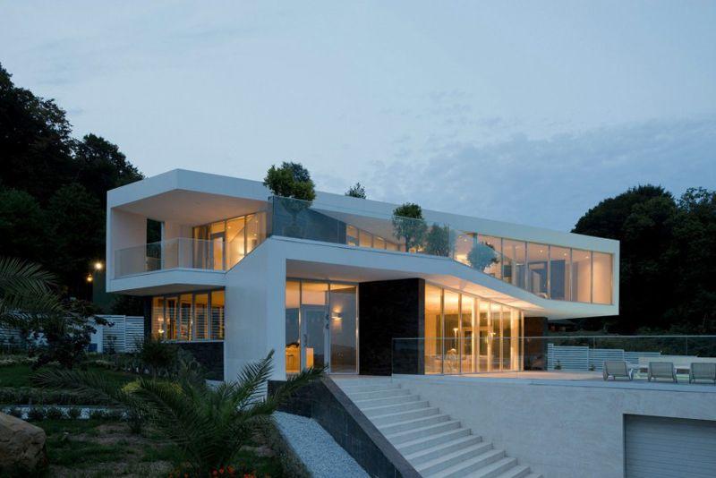 Maison blanche ultra design et lumineuse   design hus   Hus