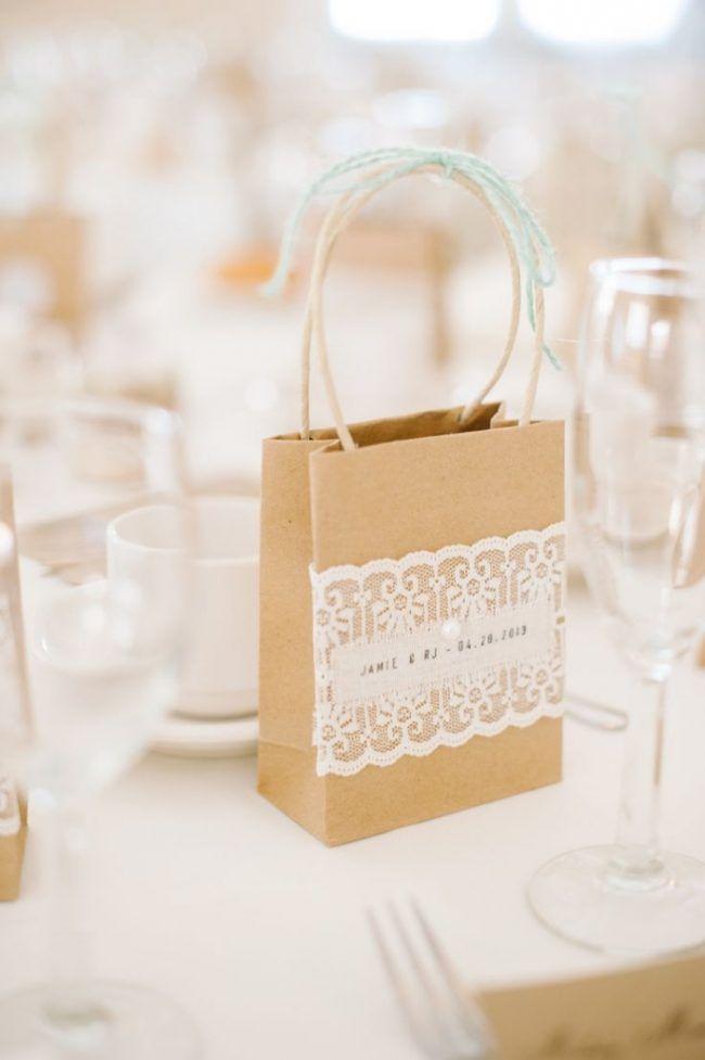 Gastgeschenke Hochzeit Vintage Stil Papiertuete Spitze Hochzeit