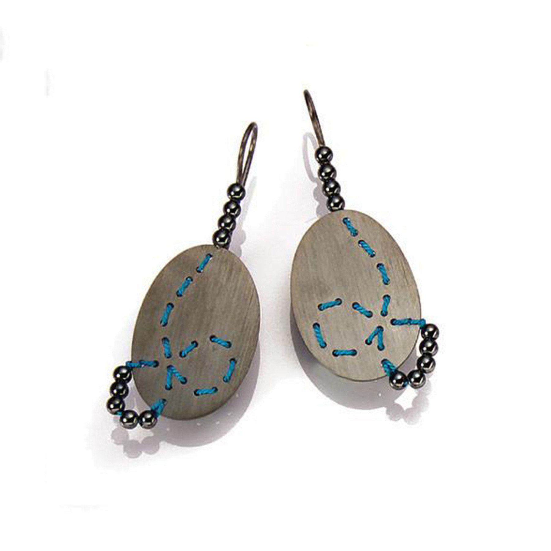 Oxidized Silver Turquoise Silk Hematite Loop Earrings