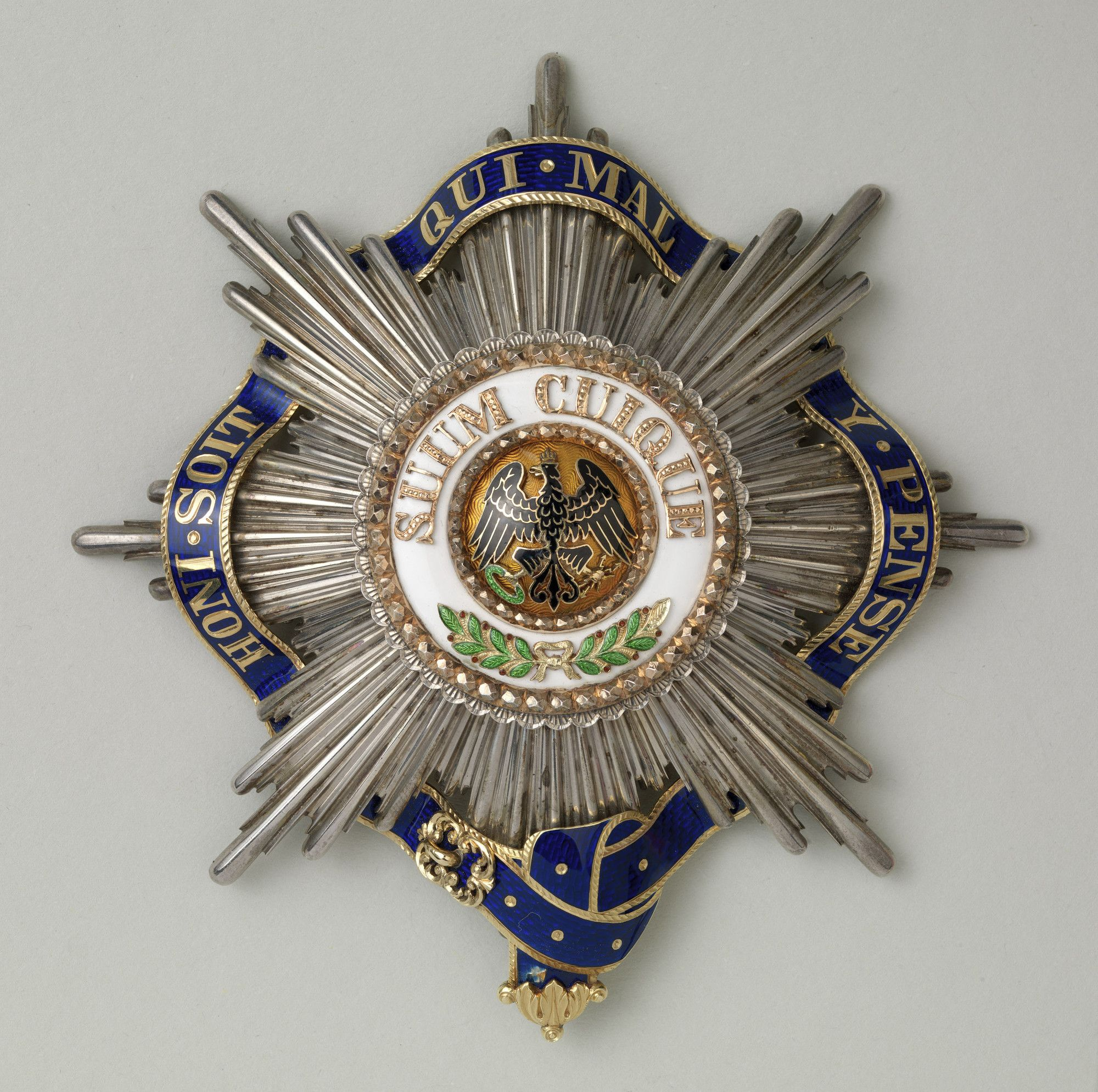 Order Of The Black Eagle Prussia George V S Star With Garter C 1901 10 Rcin 441498 8 Pointed Smooth Rayed Silver Military Decorations Black Eagle Prussia