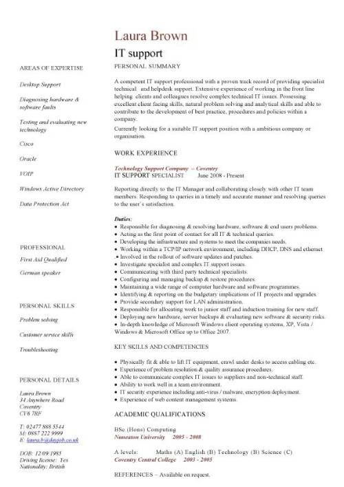 It Support Cv Sample Helpdesk Writing A Good Cv Resume In 2020 Good Cv Downloadable Resume Template Professional Resume Examples