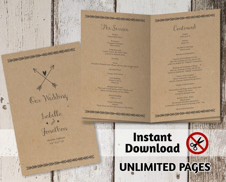 Printable Wedding Ceremony Book Template