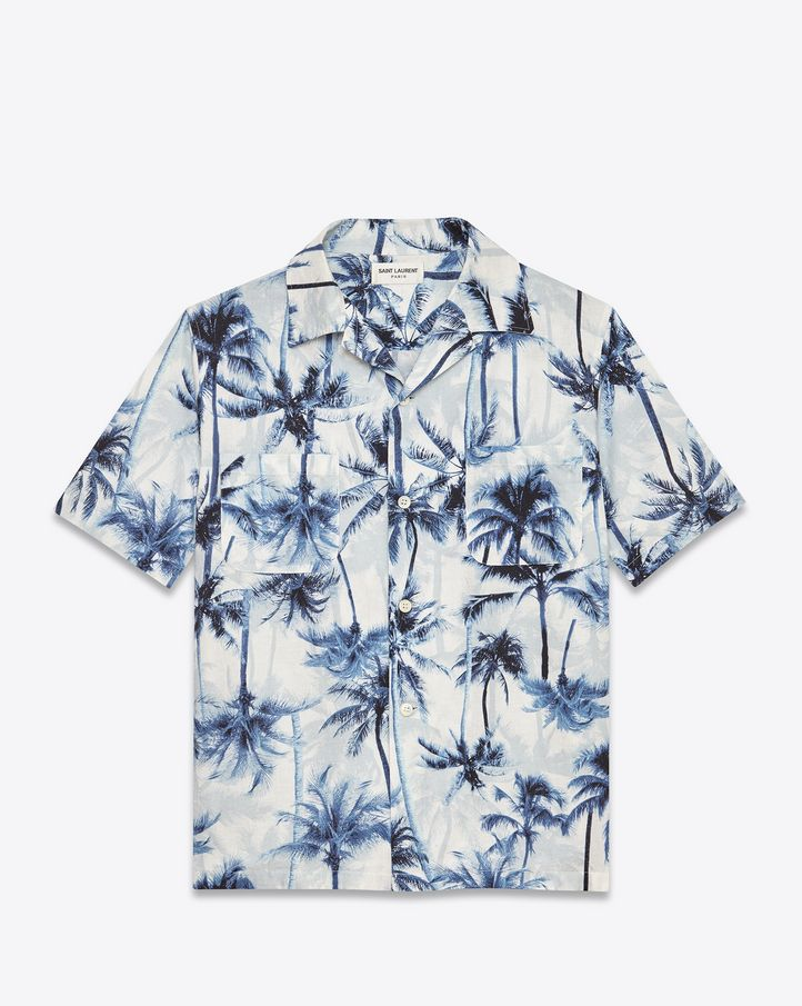 e878be85 Saint Laurent | Short Sleeve Hawaiian Shirt (Pale Blue, Palm Tree ...