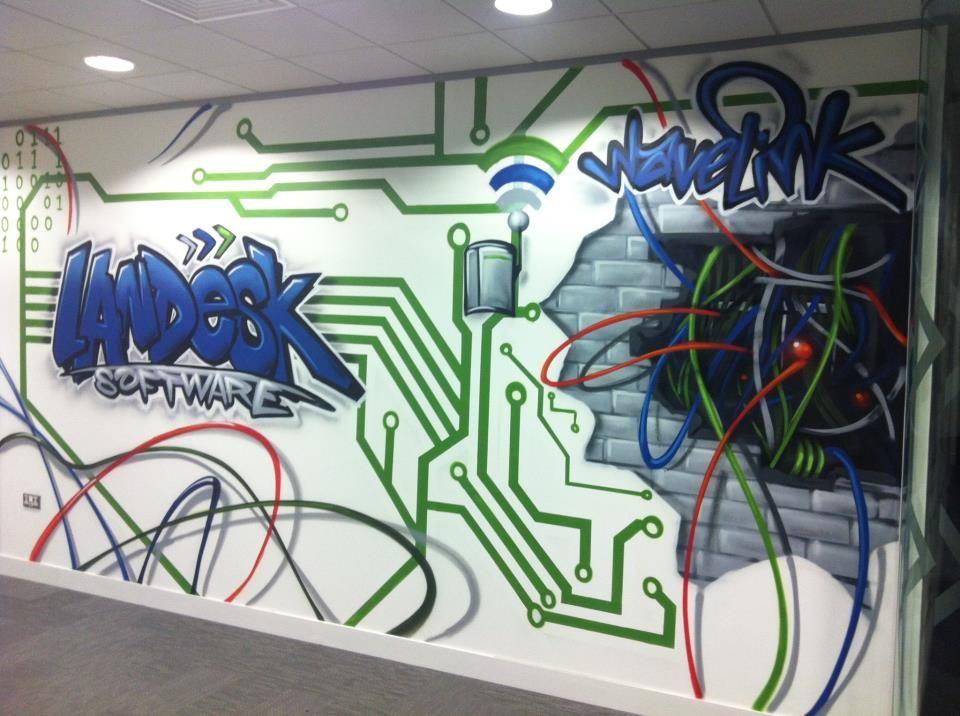 office graffiti wall. clinet landesk london office graffiti mural hand painted electronic design wall s