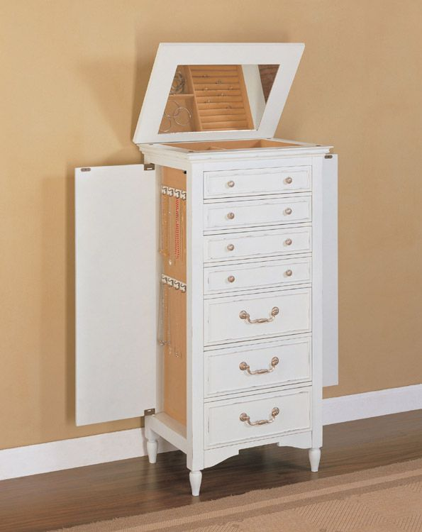 Delightful Shabby Chic White Jewelry Armoire By Powell Company   DC