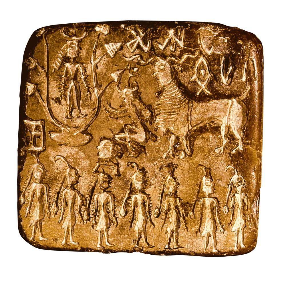 La cultura del valle del Indo · Un ritual desconocido  En este sello, una figura masculina con un tocado de tres cuernos surge del centro de un árbol, mientras que en la parte inferior varias mujeres parecen estar danzando.