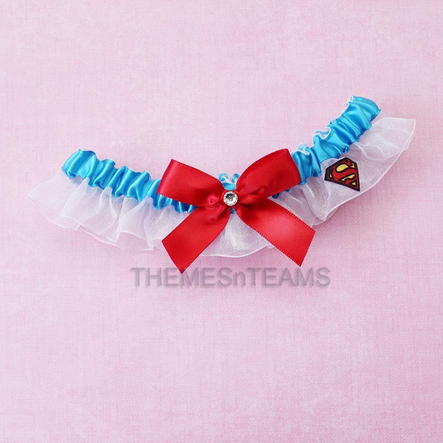 Superman handmade bridal wedding keepsake garter set