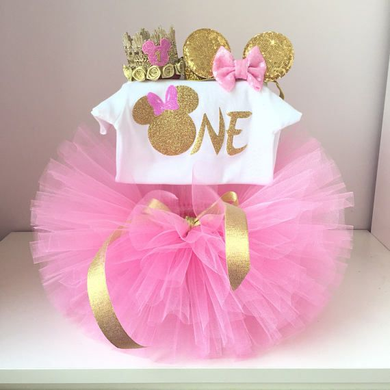 Minnie Mouse birthday outfit,Minnie Mouse 1st birthday outfit,Ivory Pink and Gold tutu,Minnie Mouse tutu set,1st birthday girl outfit
