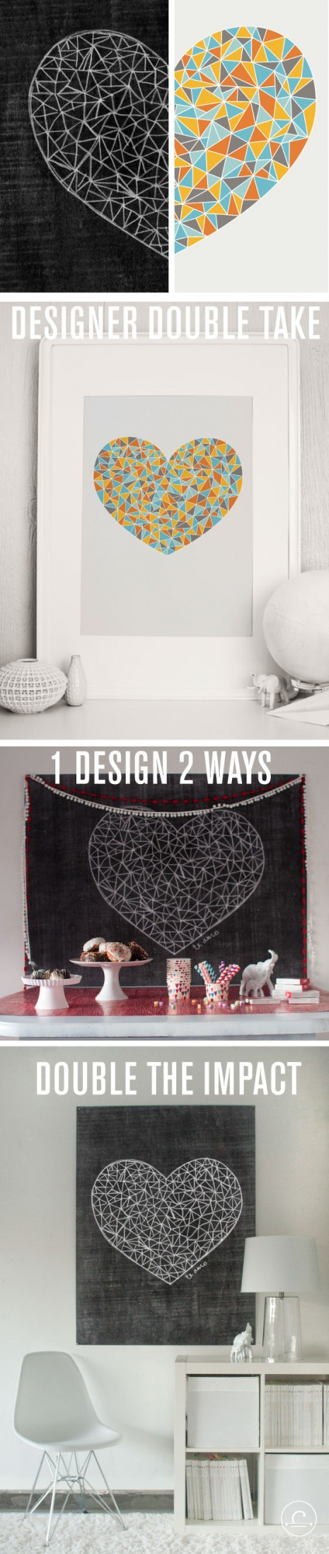 Designer Double Take: Alma Loveland and Melanie Burk design 1 heart 2 ways. Download both for $8; print as many as you like!