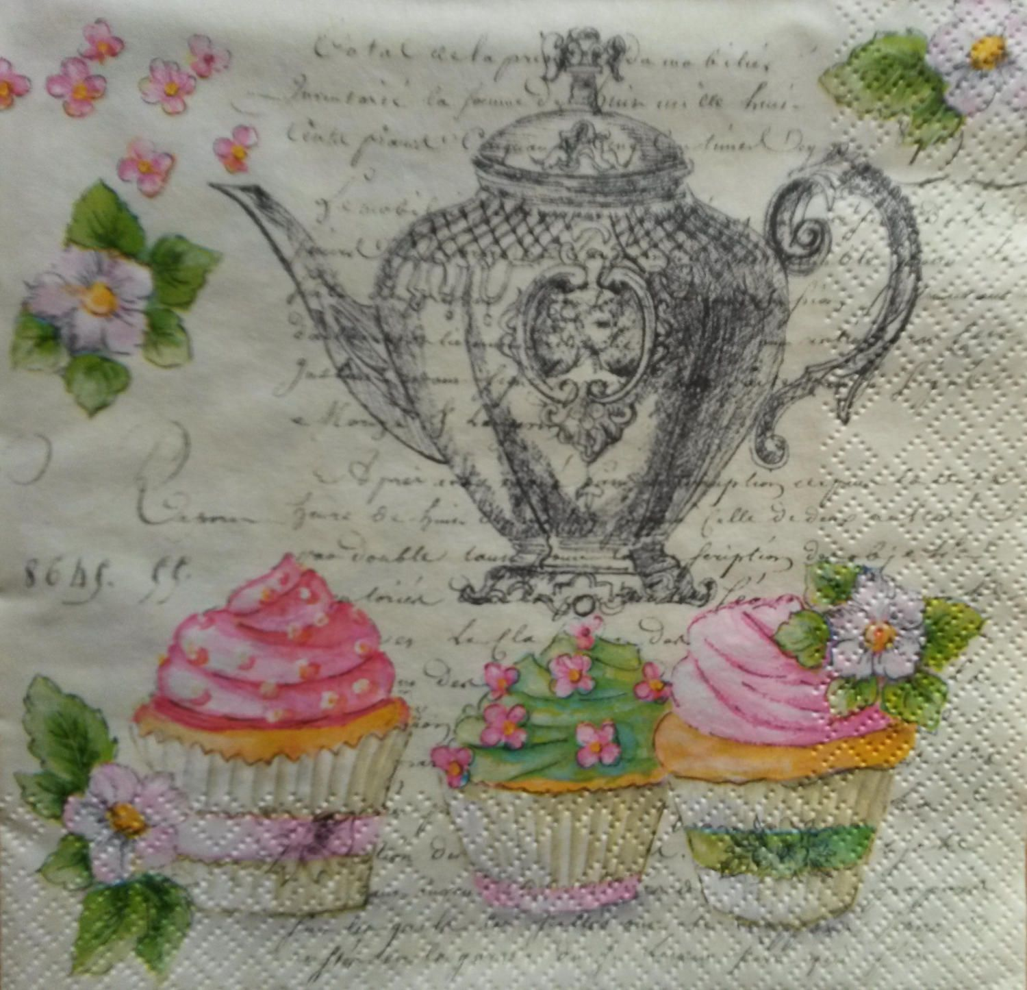 4 x Single Paper Table Napkin//Decoupage//Decopatch//Cake//Tea Party