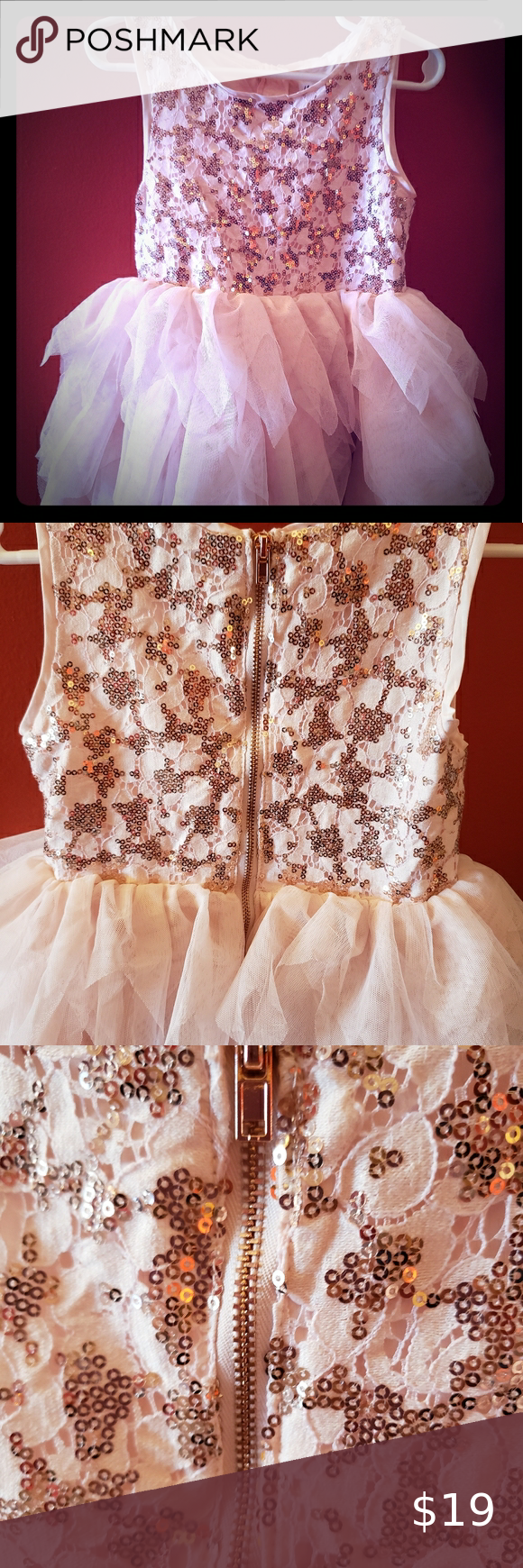 H M Blush And Sequined Dress With Tulle Bottom This H M Dress Has Only Been Worn Once Has Beautiful Sequences On The To In 2020 Sequin Dress Hm Dress Rose Gold Dress