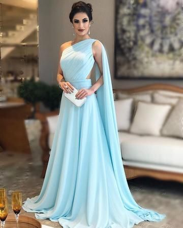 Light blue prom dresses,light blue evening gowns,one shoulder prom dresses CR 957