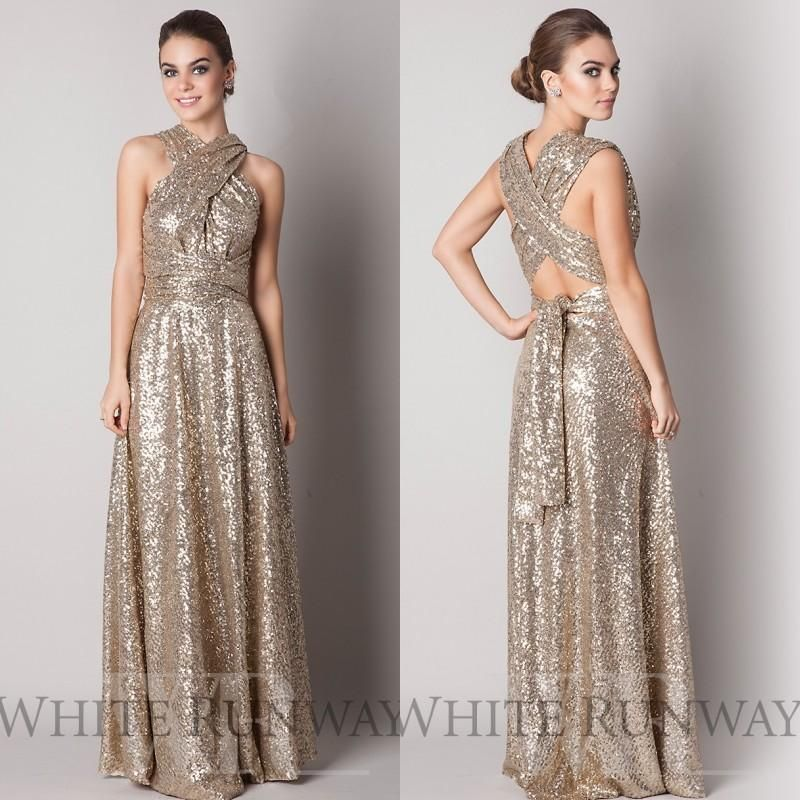 2014 hot rose gold bridesmaid dress high neck corset back for Cheap wedding dresses for guests