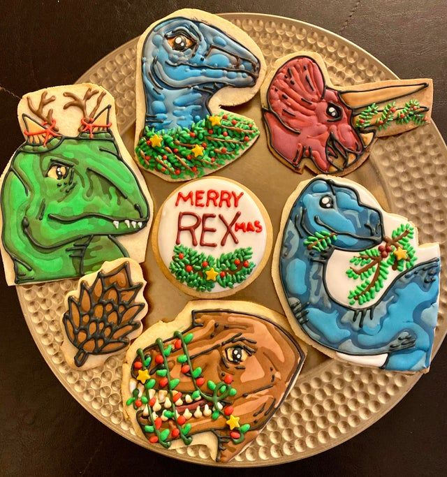 Dinosaur Christmas Cookies made by thenisaidbitch and