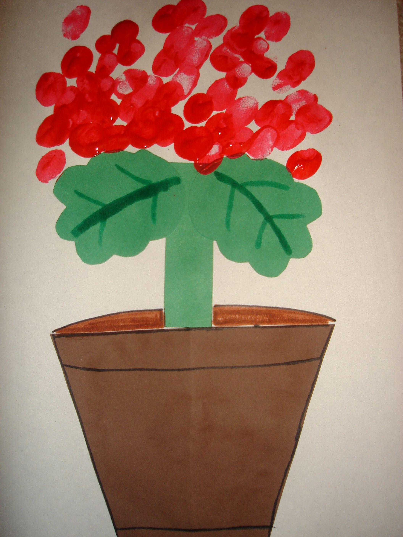 Cute Geranium Art Project Using Fingerprints In Red Paint