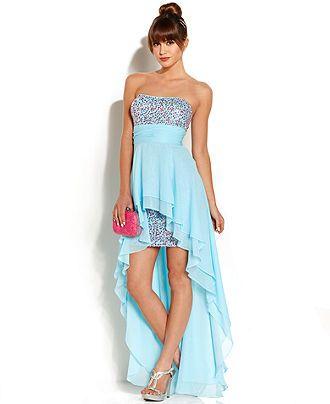 Hailey Logan Juniors\' Strapless Sequin High-Low Dress - Juniors ...